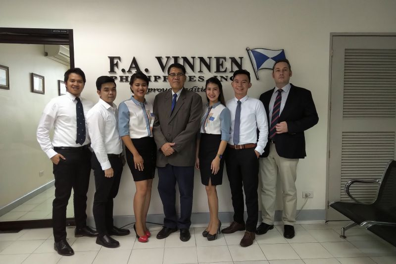 The Team of F. A. Vinnen Philippines in the office in Manila.